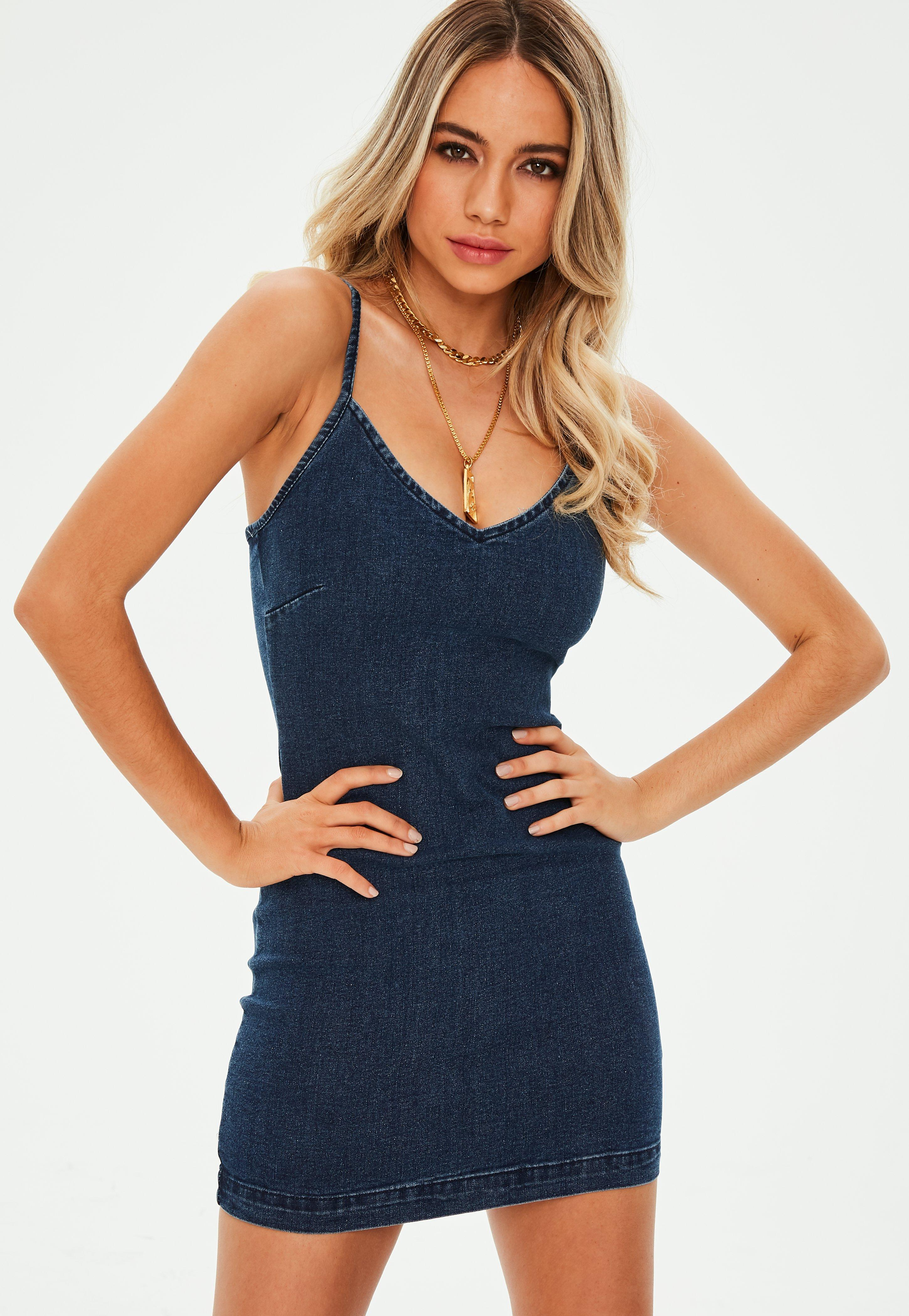 4017c1e3b1bc2 Blue Denim Cami Bodycon Mini Dress | Missguided
