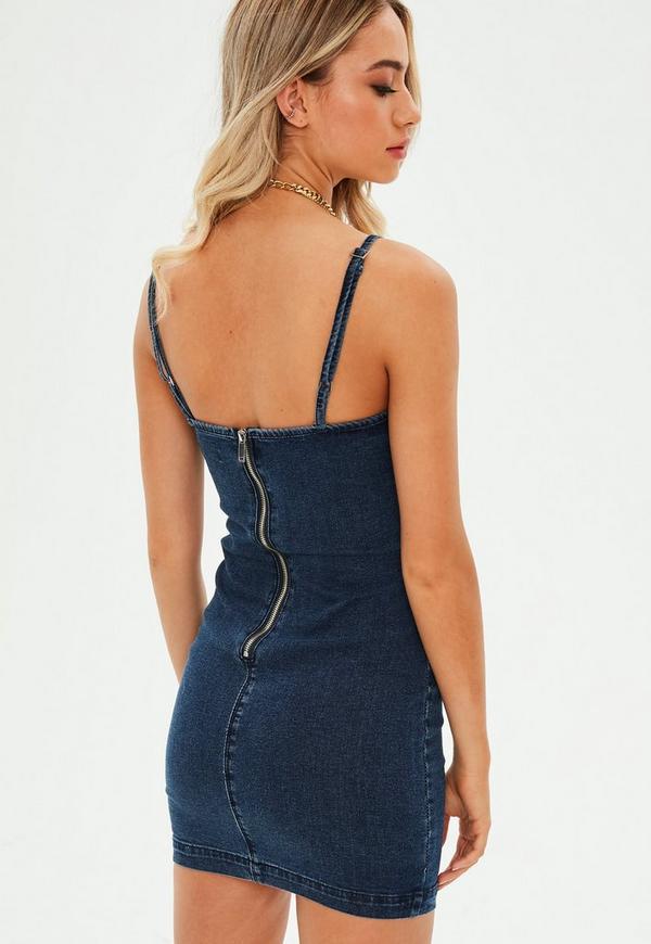 4d101454402 Blue Denim Cami Bodycon Mini Dress. Previous Next
