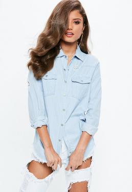 Blue Stonewash Fitted Distressed Denim Shirt