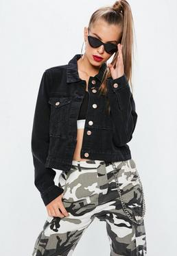 Black Denim Cut And Sew Fitted Denim Jacket