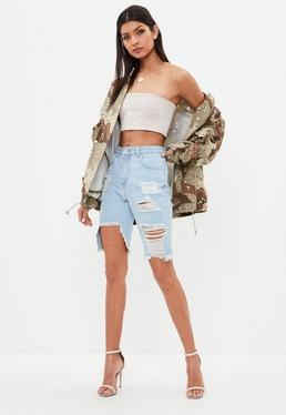 Blue Boyfriend Distressed Hem Denim Shorts