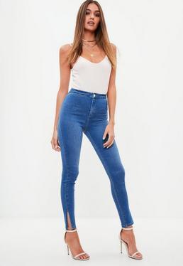 Blue Vice High Waisted Skinny Split Hem Denim Jeans