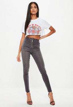 Grey Vice Highwaisted Zip Fly Jeans
