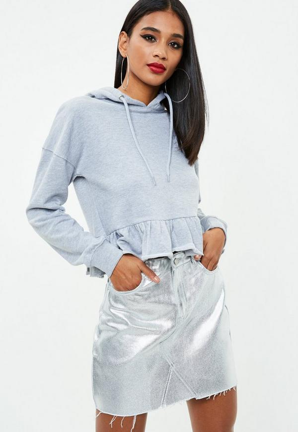 Silver Metallic Raw Hem Denim Skirt by Missguided