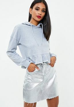Silver Metallic Raw Hem Denim Skirt