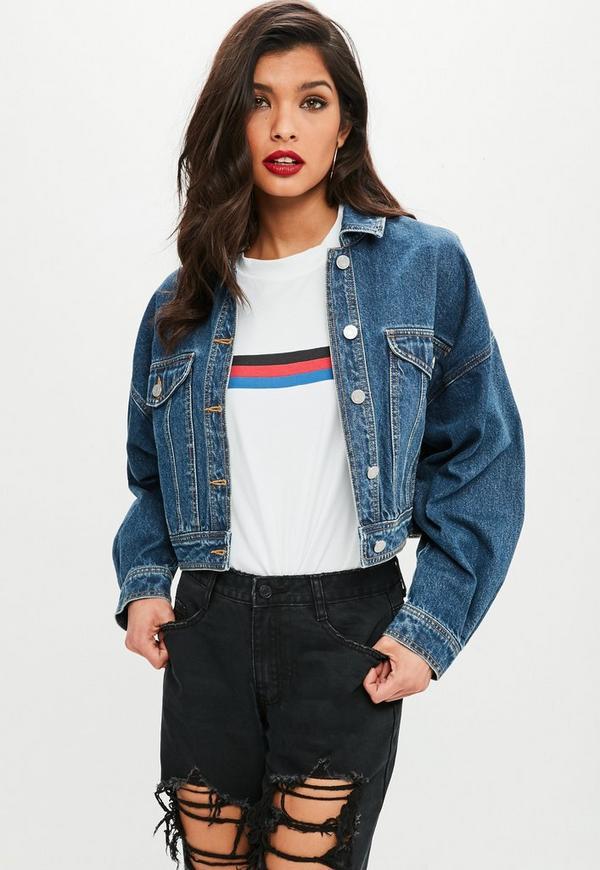 Blaue oversize crop jeansjacke missguided - Jeansjacke damen oversize ...