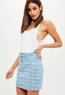 Blue Premium Printed Denim Skirt