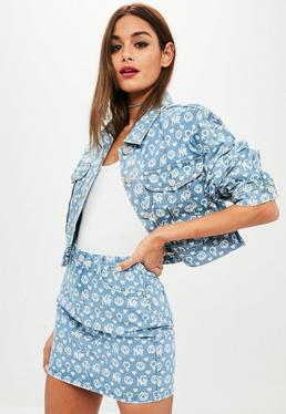 PREMIUM Blue Printed Denim Jacket