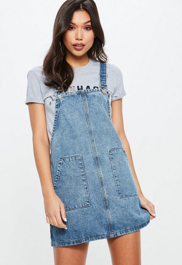 Blue Denim Pinafore Dress Missguided