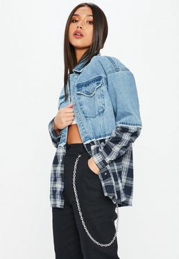Blue Oversized Plaid Mix Denim Jacket