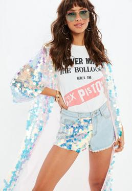 Blue Highwaisted Sequin Panel Shorts