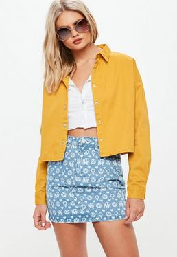 Mustard Denim Cropped Oversized Shirt