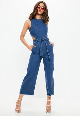 Niebieski jeansowy kombinezon z paskiem
