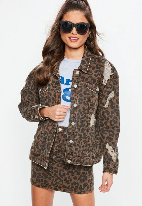 Leopard Print Oversized Denim Jacket Missguided Ireland