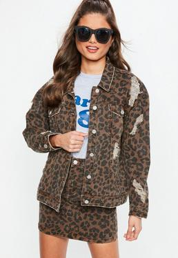 Leopard Print Oversized denim Jacket
