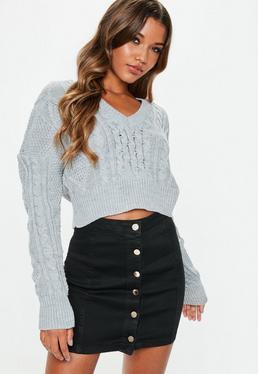 95805034e86 ... Black Superstretch Button Denim Mini Skirt