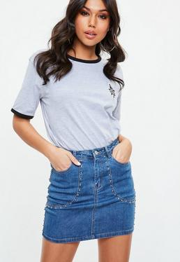 Niebieska jeansowa spódniczka mini