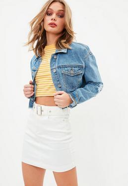 White Belted Super Stretch Denim Mini Skirt
