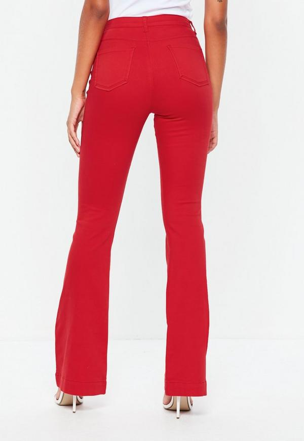 Red High Waisted Flare Jeans Missguided