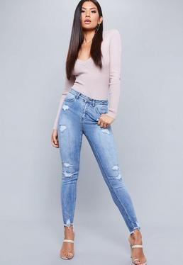 Blue Sinner High Waisted Stepped Shadow Pocket Skinny Jeans