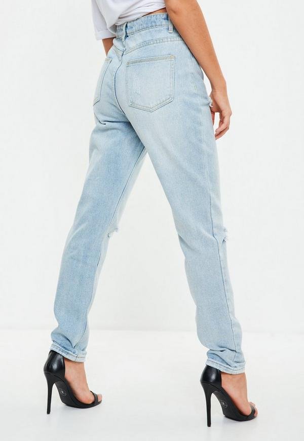 Blue Riot Highrise Busted Knee Mom Jeans by Missguided