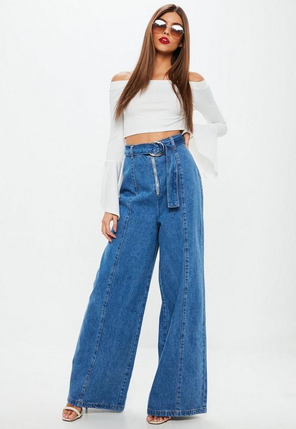 Blue High Wasited Buckle Waist Wide Leg Denim Jeans