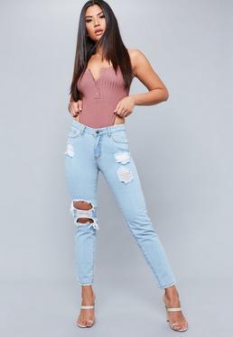 Light Blue Lust Open Knee Ripped Jeans