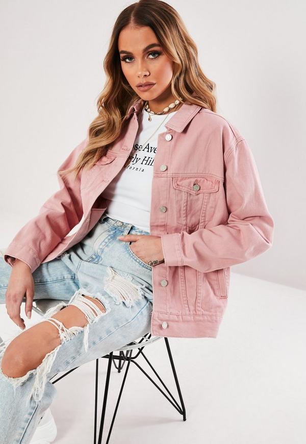 pink oversized denim jacket missguided ireland. Black Bedroom Furniture Sets. Home Design Ideas