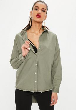 Khaki Oversized Denim Shirt