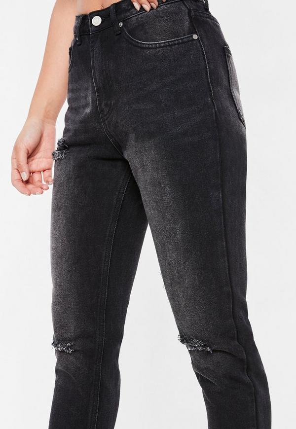 schwarze riot mom jeans mit ripped knie missguided. Black Bedroom Furniture Sets. Home Design Ideas