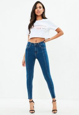 Blue Split Hem Skinny Jeans