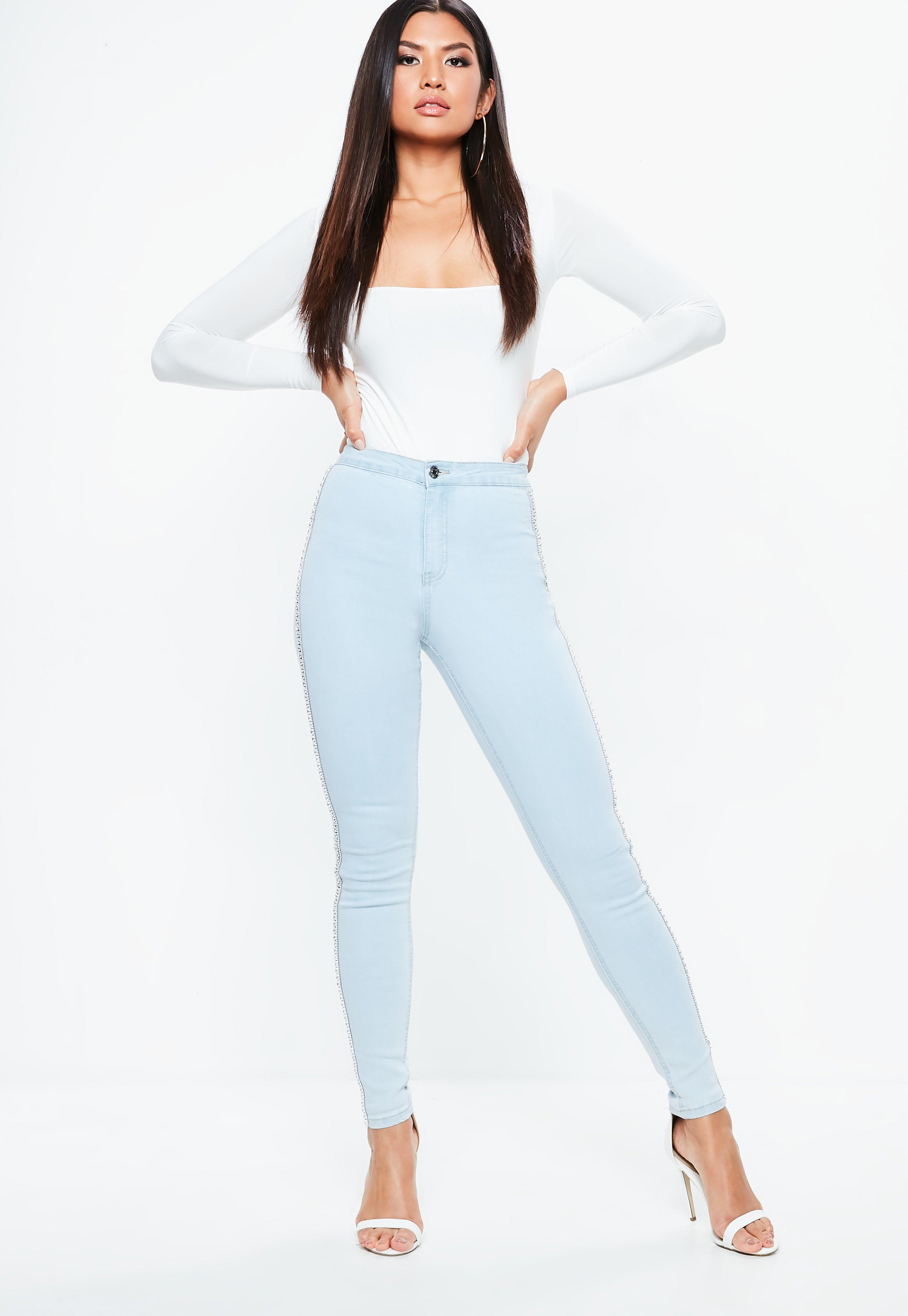 Missguided Embellished Side Skinny Jeans Free Shipping Best Sale Buy Sale Online Free Shipping Find Great Sale High Quality mv9P8lHk