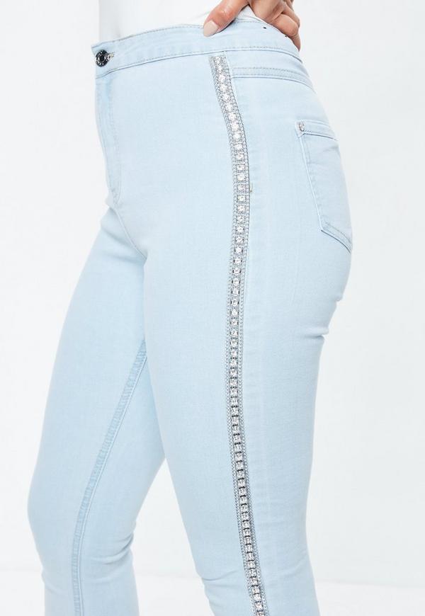 blaue vice skinny jeans mit strass glitzer seiten missguided. Black Bedroom Furniture Sets. Home Design Ideas