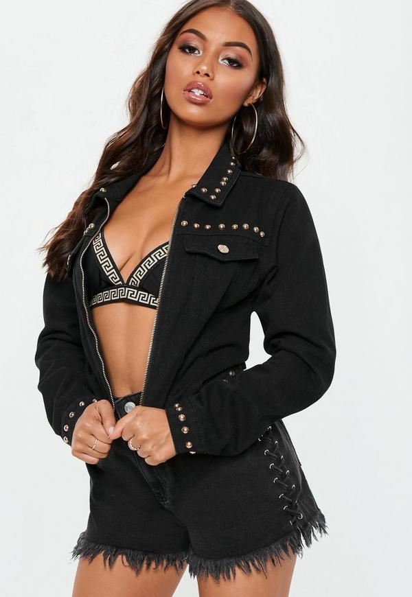 Black Cropped Studded Zip Through Jacket by Missguided