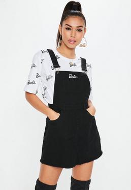 Barbie x Missguided Black Dungaree Denim Dress