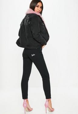 Barbie x Missguided Czarne jeansy Mom z wysokim stanem