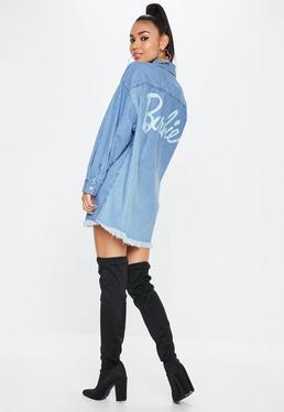 Barbie x Missguided Niebieska długa jeansowa koszula