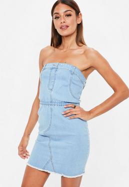 Blue Denim Strapless Stretch Mini Dress