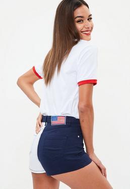 Navy Contrast Retro High Waist Shorts