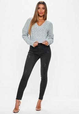Czarne poprzecierane jeansy Sinner