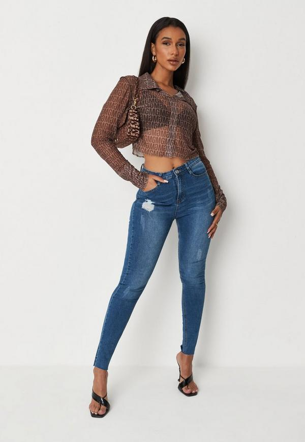 Petite Blue Sinner Clean Distressed Skinny Jeans