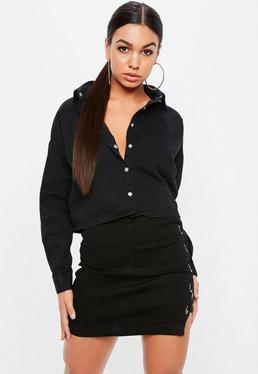 Black Cropped Oversized Denim Shirt