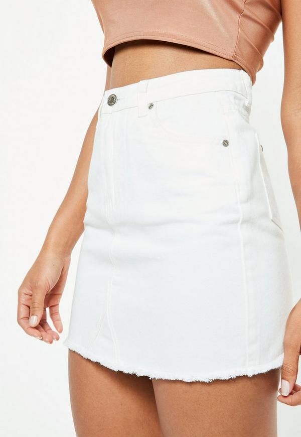 White Frayed Hem Denim Mini Skirt by Missguided
