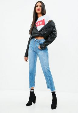 Blue Exposed Zip Straight Leg Jeans