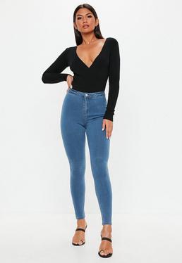 Niebieskie jeansowe super elastyczne leginsy z wysokim stanem