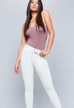 White Sinner High Waisted Circle Buckle Jeans