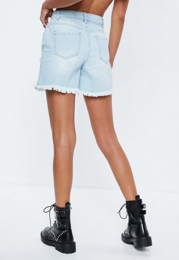 Short en jean bleu clair effiloché  71be79cb89d
