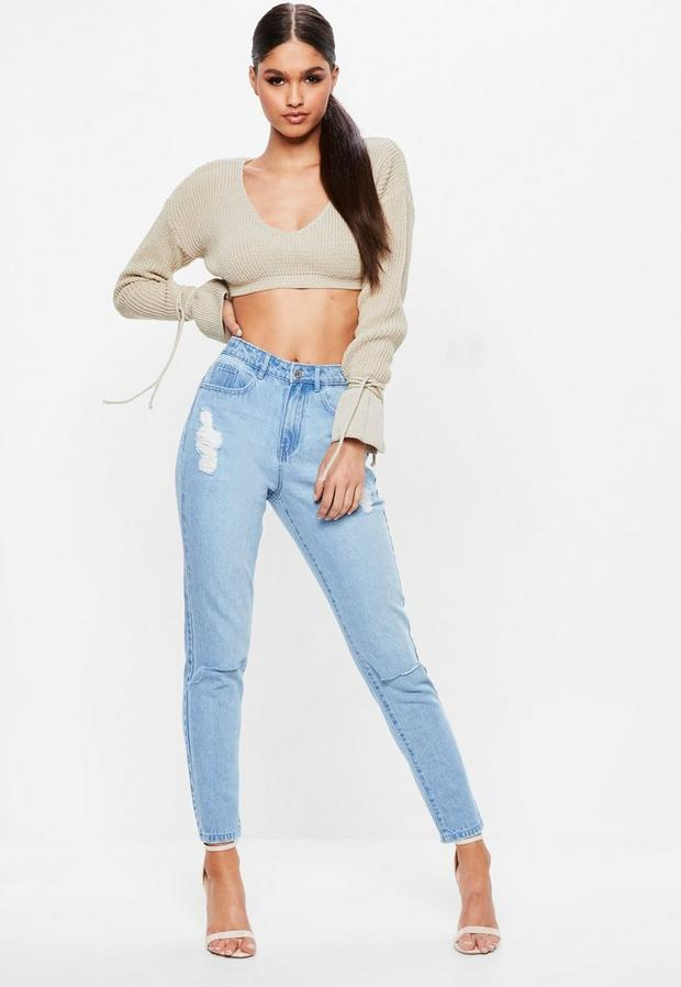 Product photo of Blue high rise slash knee mom jeans blue