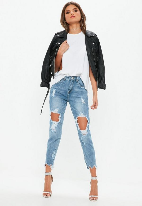 Blue Distressed Raw Hem Denim Skinny Jeans by Missguided