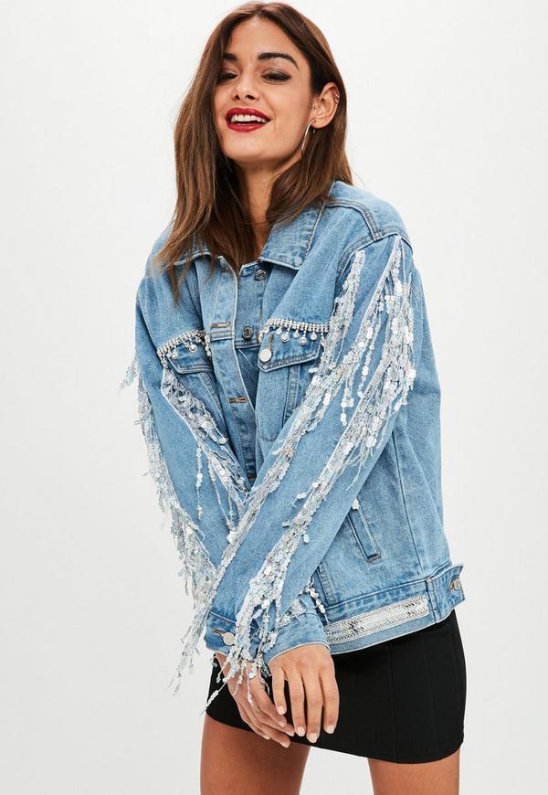 Blue Embellished Sequin Fringe Denim Jacket Missguided